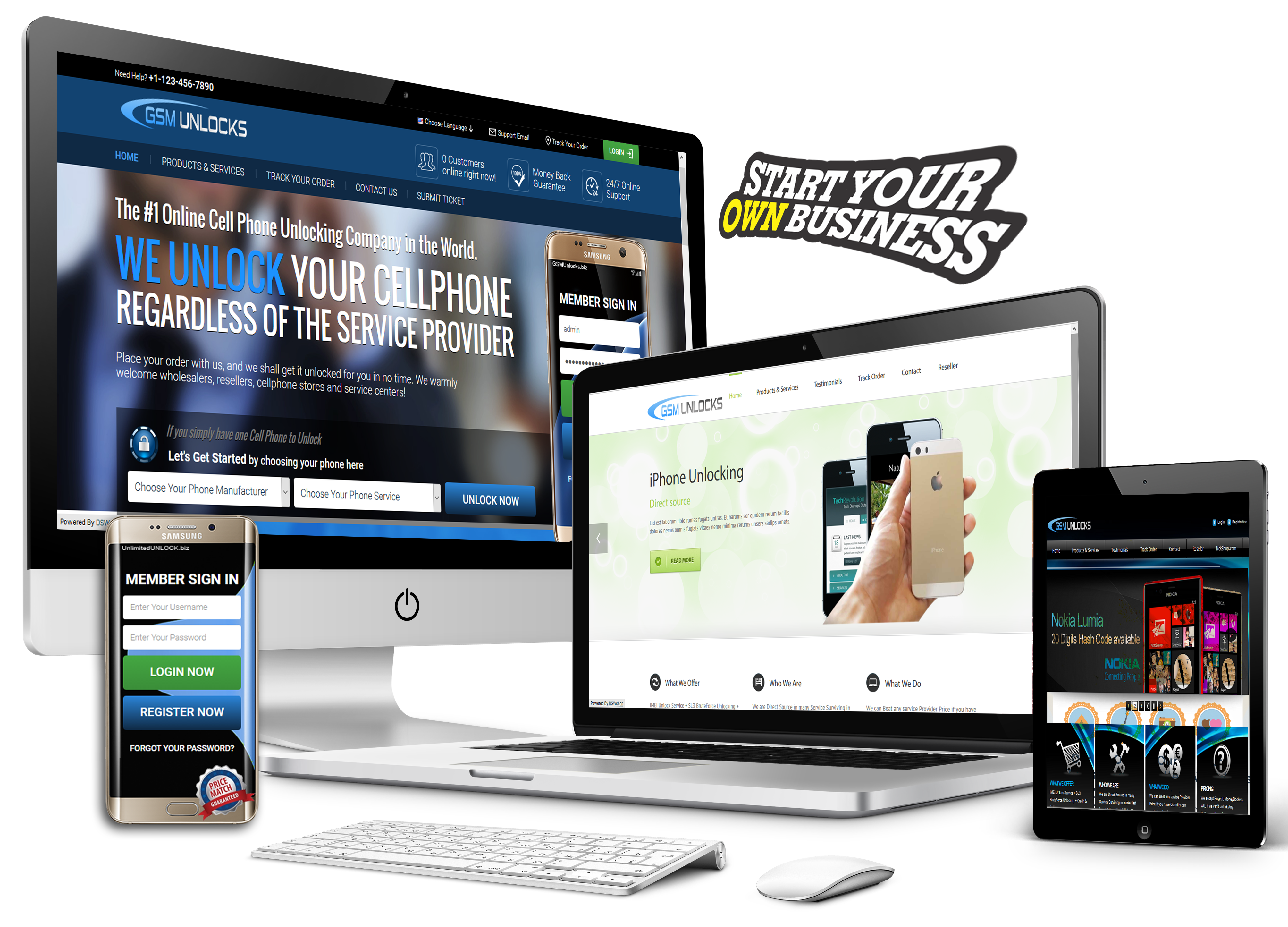 Self-Branded Reseller Unlocking Site