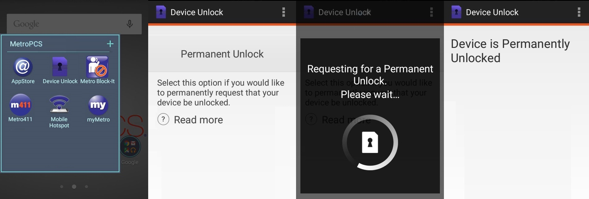 Device Unlock is an Android app that allows you to request and apply a MetroPCS mobile device unlock directly from the device