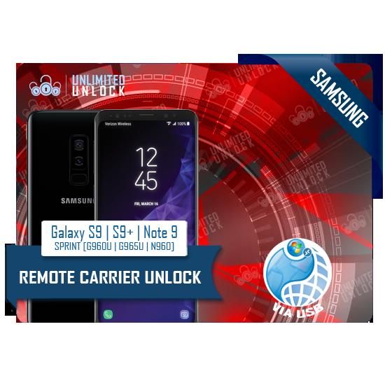 Samsung Galaxy S9 | S9+ [G960U | G965U] NOTE 9 [N960] Remote USB Carrier Unlock